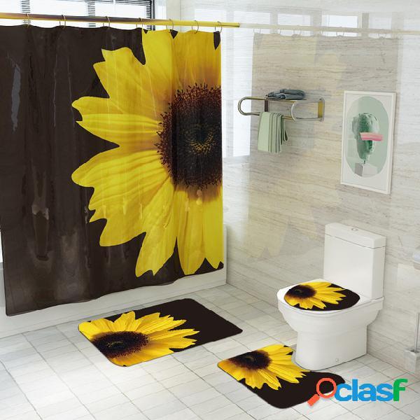 Set di tappeti antiscivolo per bagno stampati con tende da