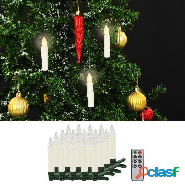 vidaXL Candele Senza Fili a LED con Telecomando 20 pz Bianco
