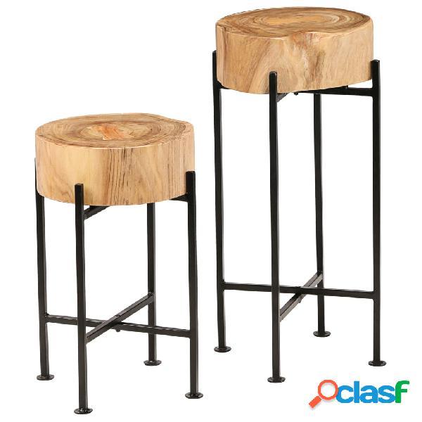 vidaXL Set Tavolini da Salotto 2 pz in Legno Massello di