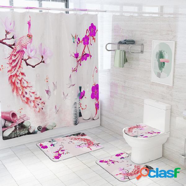 Tappetino per WC stampato in pavone Tappeto in quattro pezzi