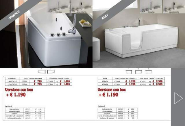Vasca da bagno con sportello/porta 170x70 easy