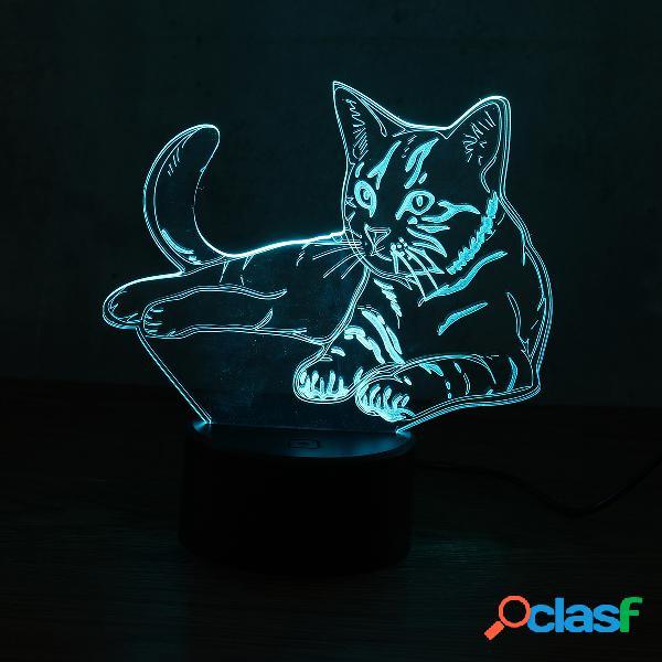 3D Animal Cat Night Light 7 Cambia colore LED Lampada da
