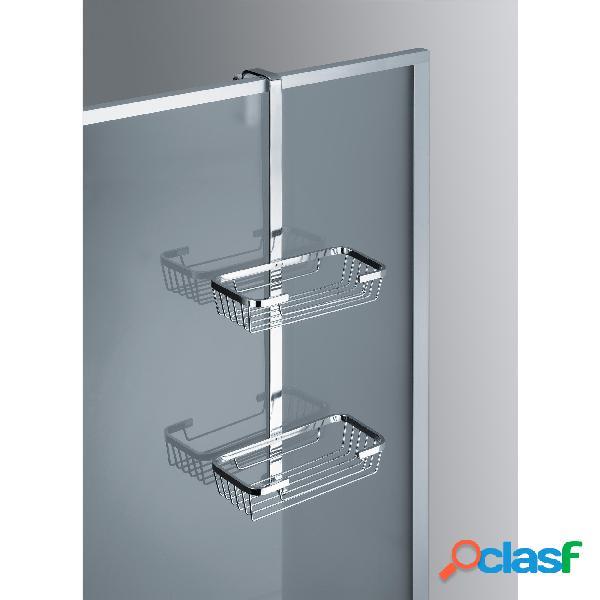 Mensola 2 piani per fissaggio telaio box doccia in ottone