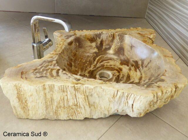 Lavabo bagno da appoggio in vera pietra di legno fossile