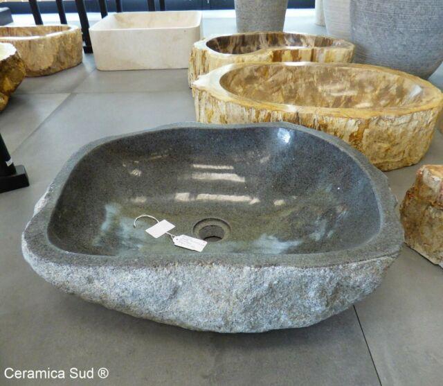 Lavabo in basalto pietra antracite da appoggio 1 scelta
