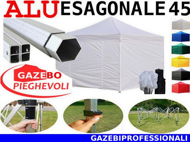 Gazebo 3x3 pieghevole ALLUMINIO bianco piantone 45