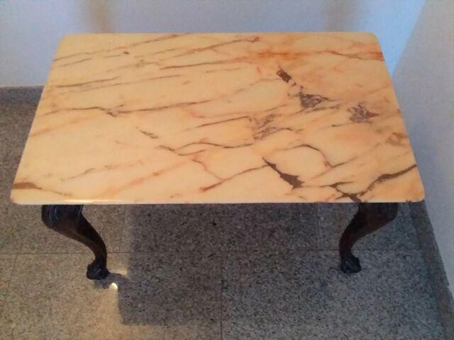 Tavolino rettangolare con piano di appoggio in marmo