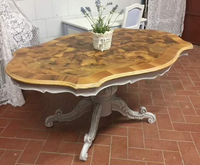 Tavolo ovale in radica shabby chic