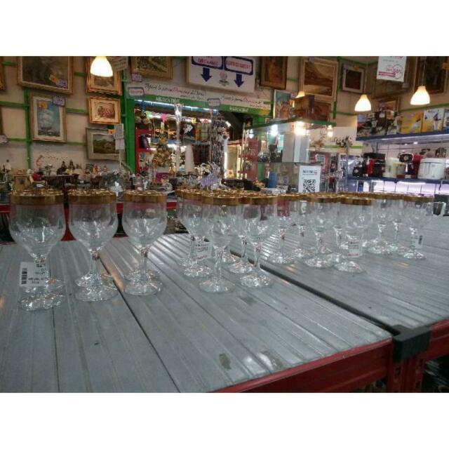 Bicchieri pz. 6 vetro bordino dorato calice