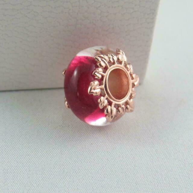 PANDORA Charm  Vetro Murano Rosa e Foglie