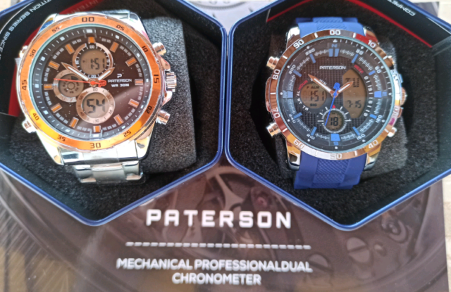 2 Paterson Mens Watch Dual Time Chronograph S Steel Orologio