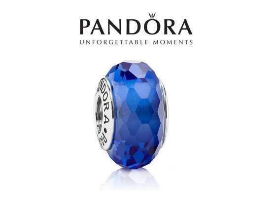 Pandora Charm Blu Sfaccettato Murano