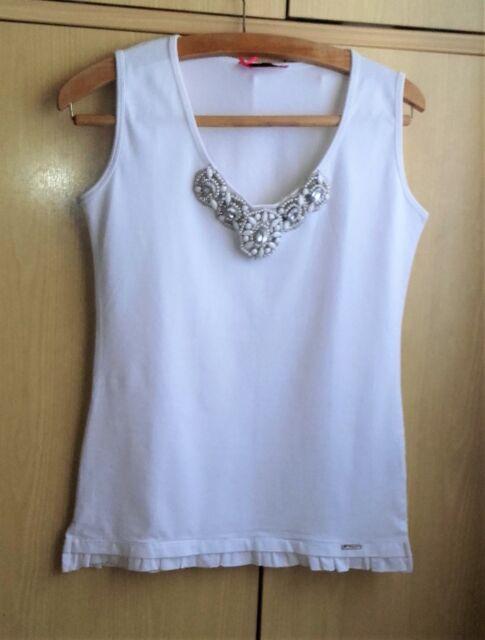 LOLITAS&LOLOS Top Maglia con strass e perline bianca taglia