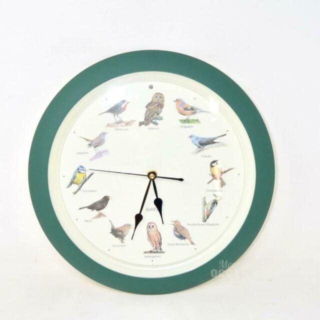 Orologio Da Parete Tondo Bordo Verde Suono Degli Uccellini