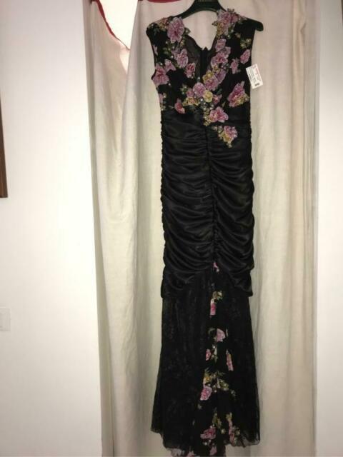 Vestito donna cerimonia pezzo unico nero con rose