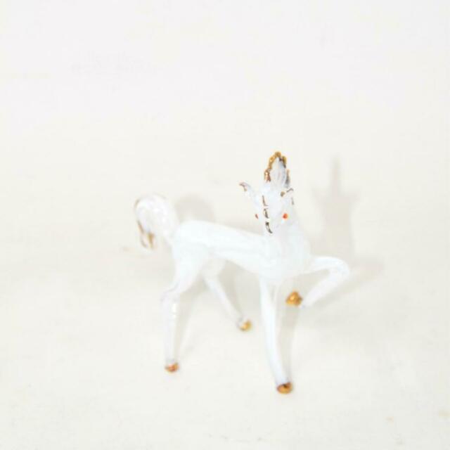 Oggetto Cavallo Bianco In Vetro Di Murano