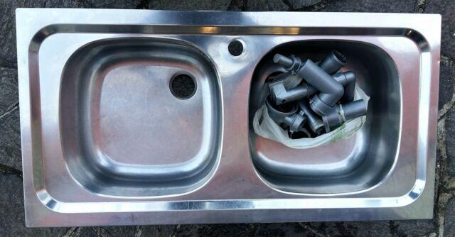 Lavandino 2 vasche Lavello acciaio inox cucina 90cm gocc