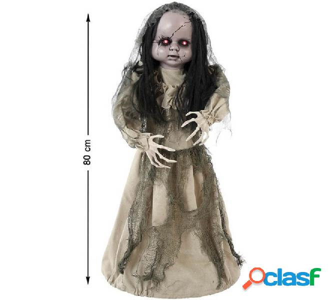 Bambola zombie ballerina con luce e suono di 80 cm