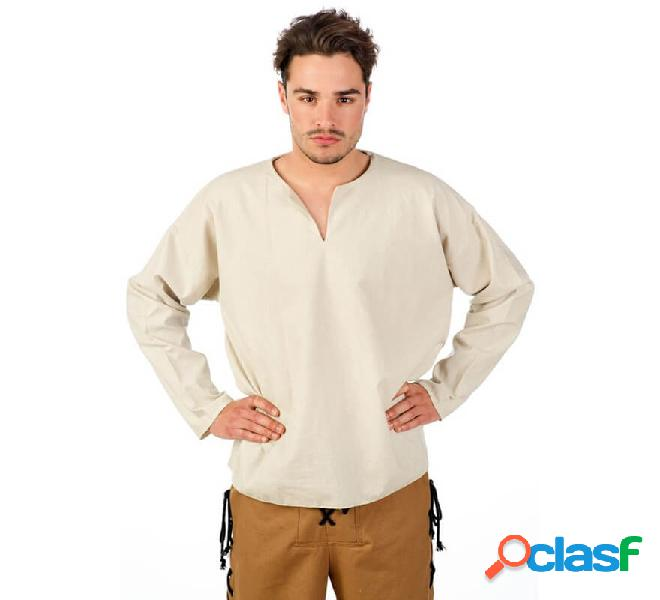 Camicia bianca medievale per uomo