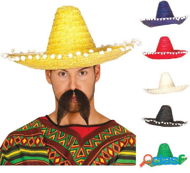 Cappello messicano con nappe in vari colori di 45 cm