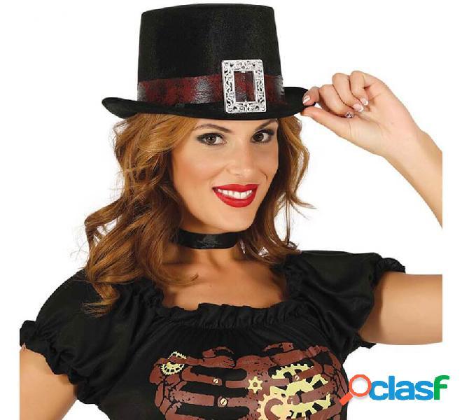 Cappello nero con nastro marrone