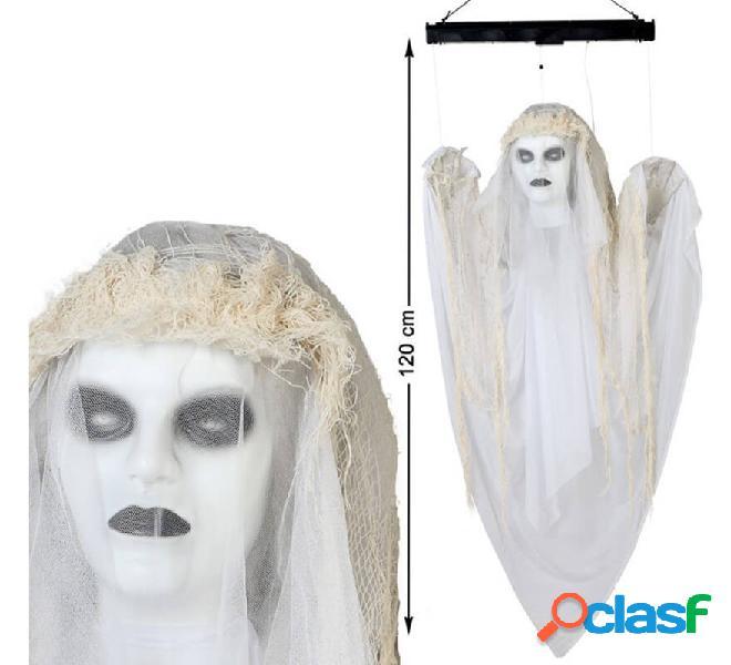 Fantasma bianco da appendere con luce e suono di 120 cm