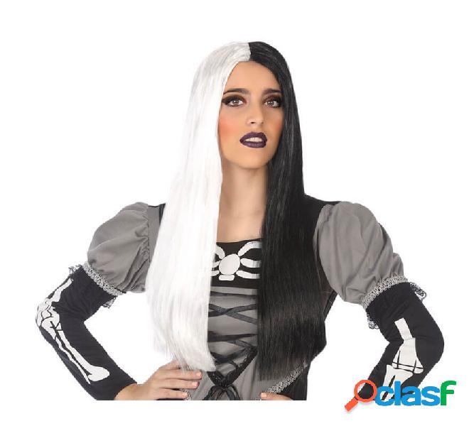 Parrucca bianca e nera di 60 cm
