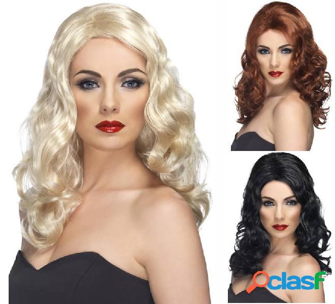 Parrucca glam lunga e ondulata in vari colori