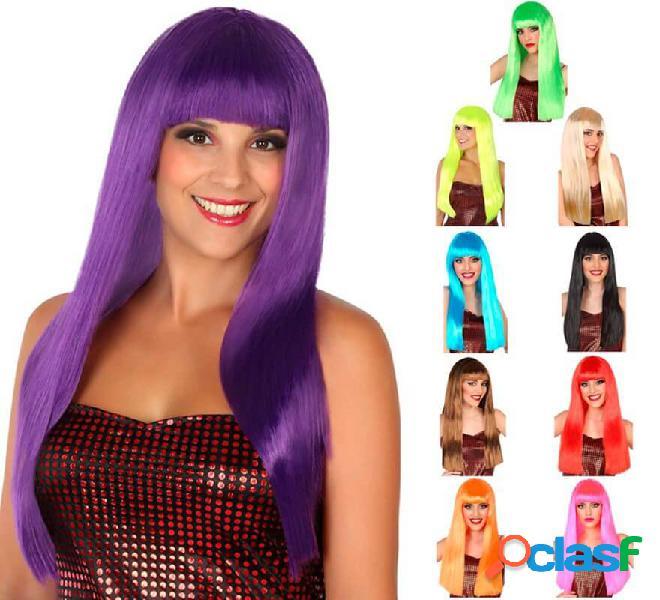 Parrucca liscia e lunga con frangetta in vari colori
