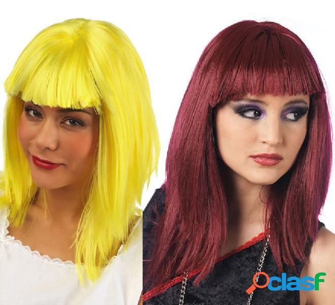 Parrucca lunga e liscia con frangia in vari colori