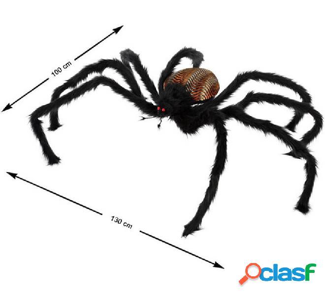Ragno nero con luce e pelo di 130x100cm