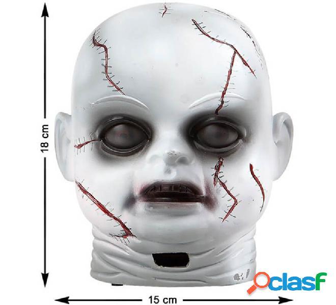 Testa di bambola con luce e suono di 18x15 cm