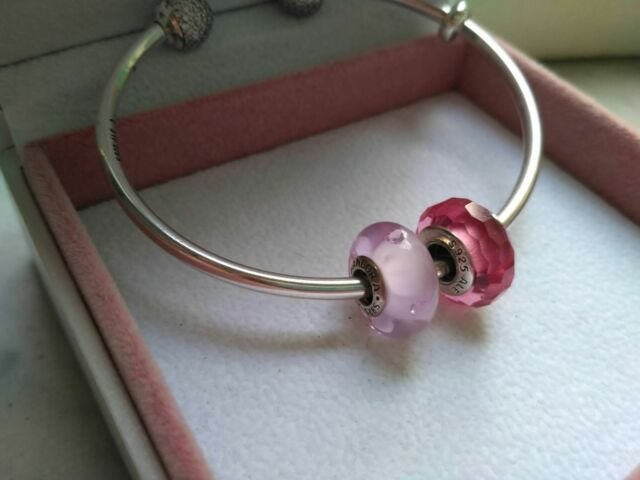Coppia Murrine Pandora Charm Cuori Rosa e Rosa sfaccettato