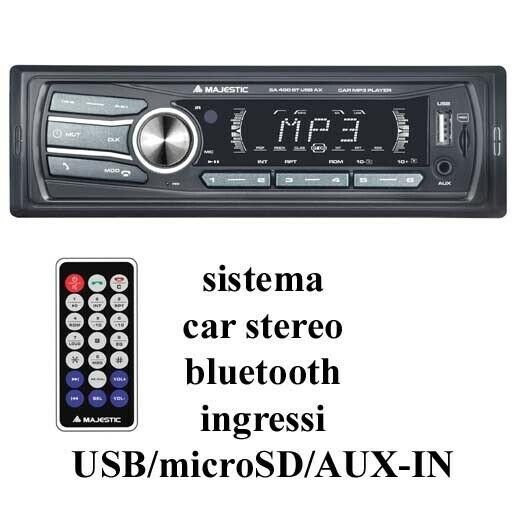 Autoradio majestic sa400 bluetooth vivavoce sd usb rds nuova