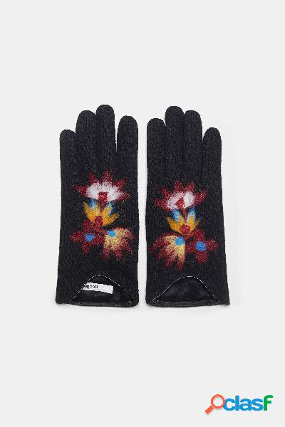 Guanti in maglia con fiori - BLACK - U