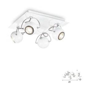 Lampada soffitto Lunare 4 luci