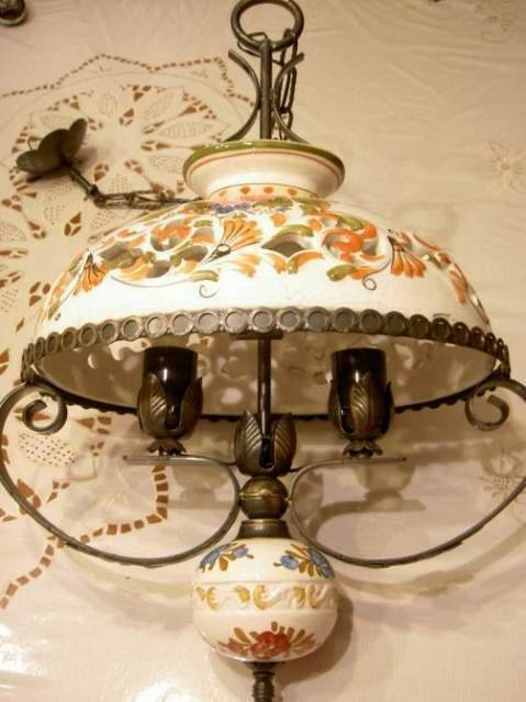 Antico lampadario a sospensione a 2 luci