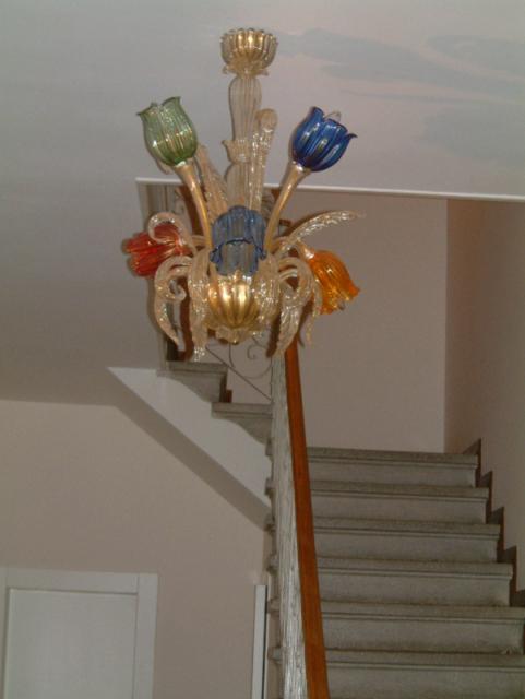 Lampadario 6 luci in oro in vetro artistico di murano