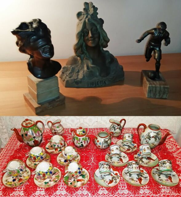 Porcellana cinese e 3 busti in bronzo inizio'900