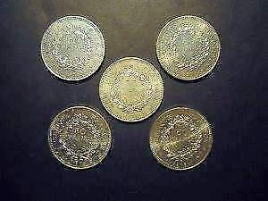 FRANCIA lotto 5 monete 50 FRANCHI in argento