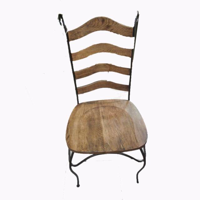 n.2 sedie poltrona in ferro e legno per cucina pranzo