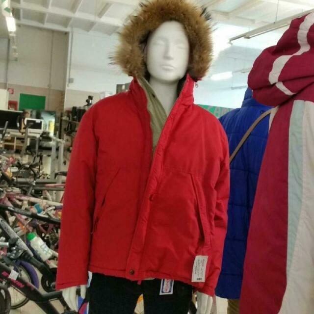 Giubbotto uomo rosso reversibile beige cappuccio pelo