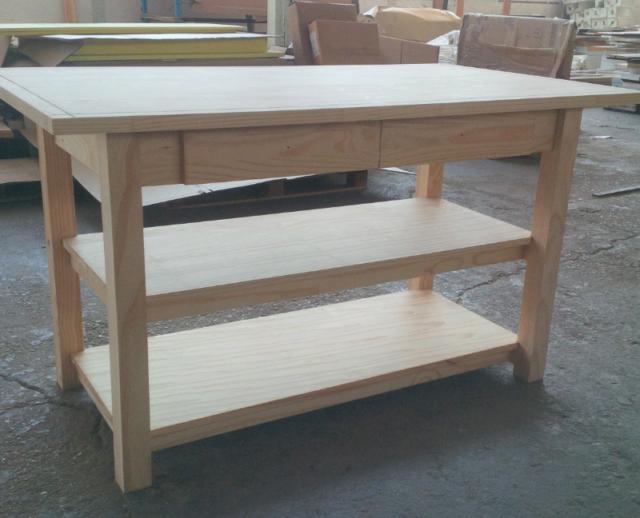 Banco tavolo da lavoro isola cucina in legno massello
