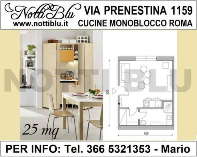 Cucina Monoblocco Roma VE114 per monolocale di 25 mq