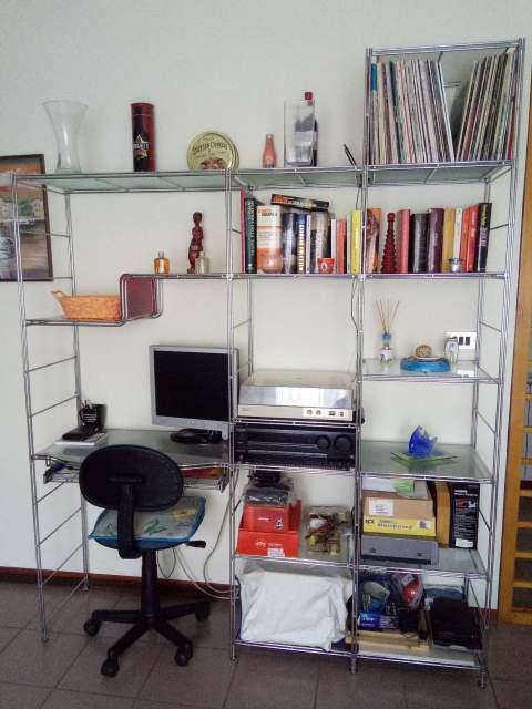 Libreria Scaffale in Acciaio Cromato da Arredo