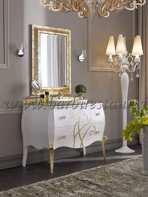 Mobile bagno bombato top cristal. foglia oro maniglie