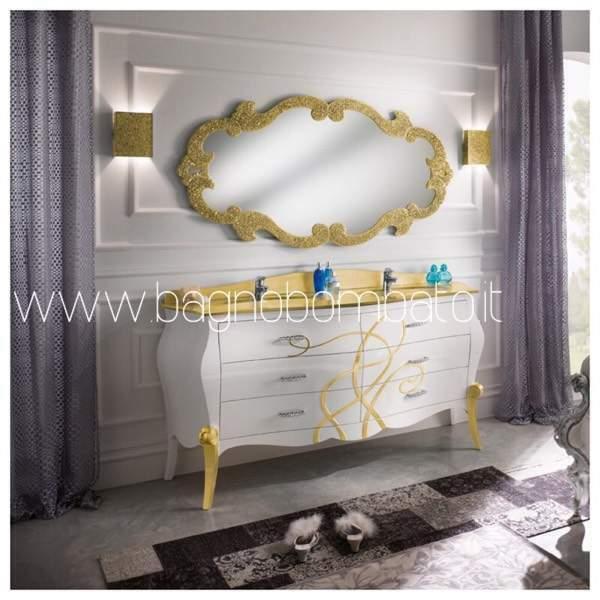 Mobile stile barocco per bagno doppio lavabo di lusso