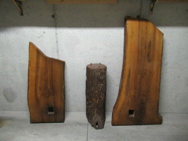 Tavolo con mensola in legno massello di noce