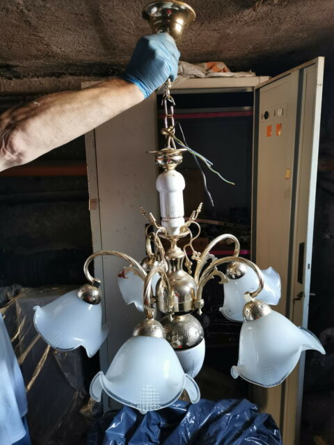 Lampadario da soffitto ceramica laminato oro portalampade