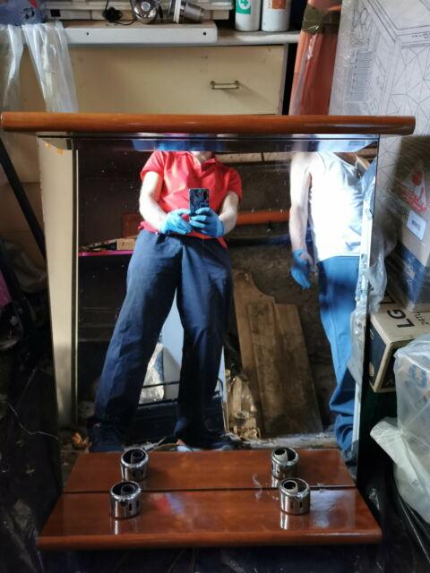 Mobile da Bagno in legno con specchio, lampade e pensili